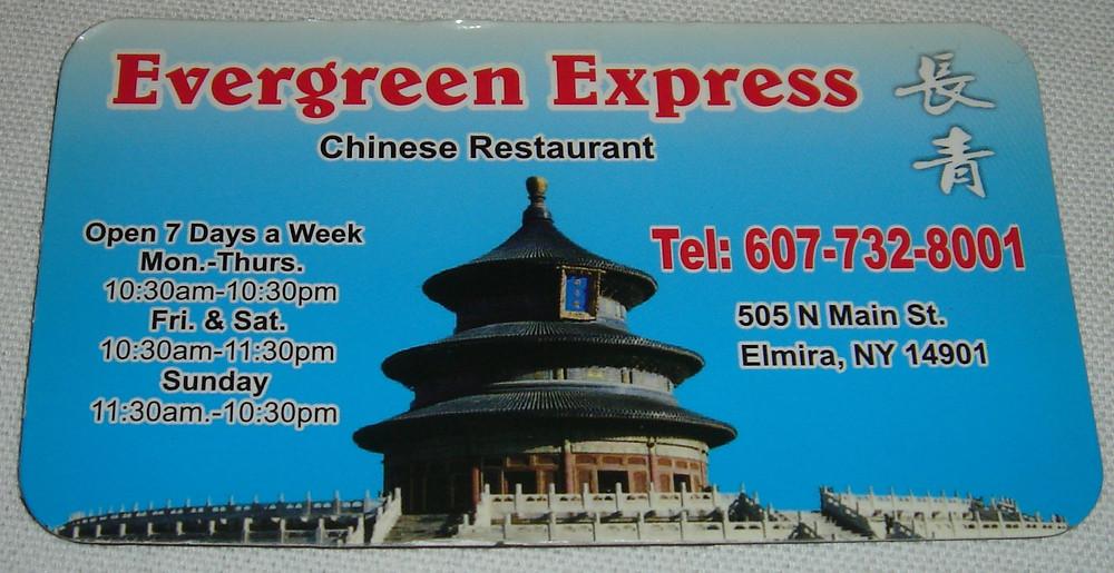 Evergreen Express Chinese Restaurant magnet.