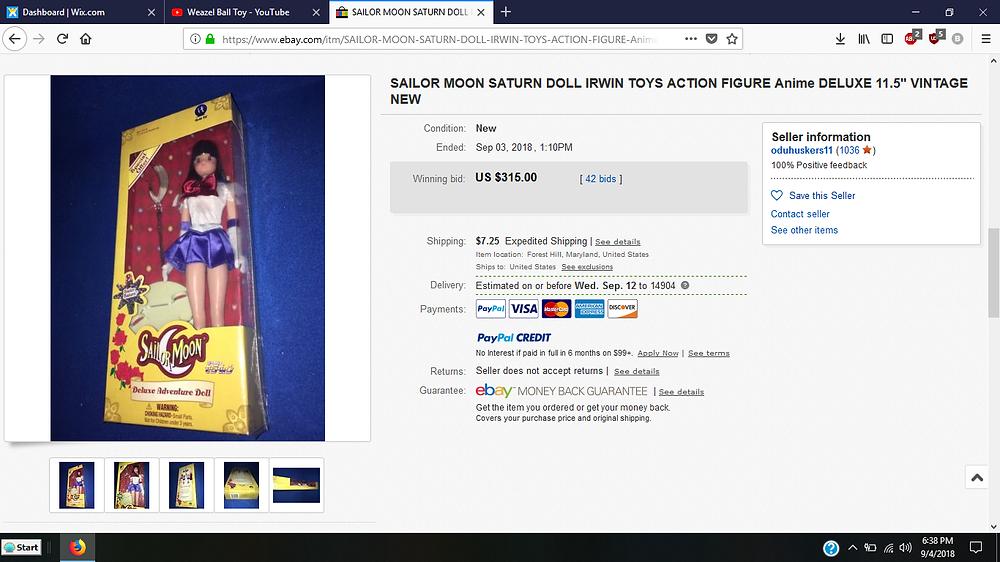 Irwin Sailor Moon eBay auction.