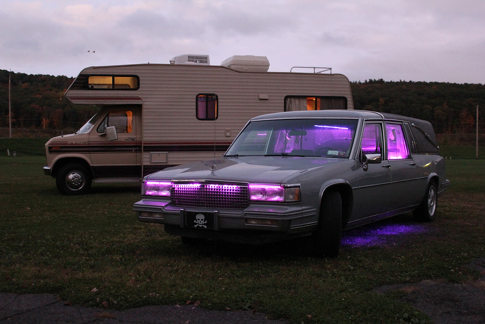 1987 Jamboree Rallye camper and custom 1987 Cadillac hearse