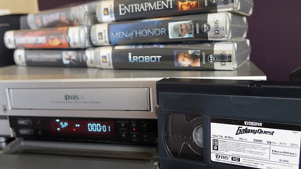 D-VHS tapes and player.