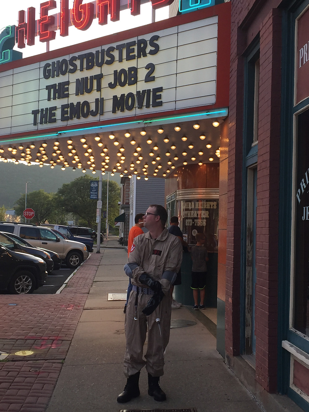 Ghostbusters cosplay at a theater.