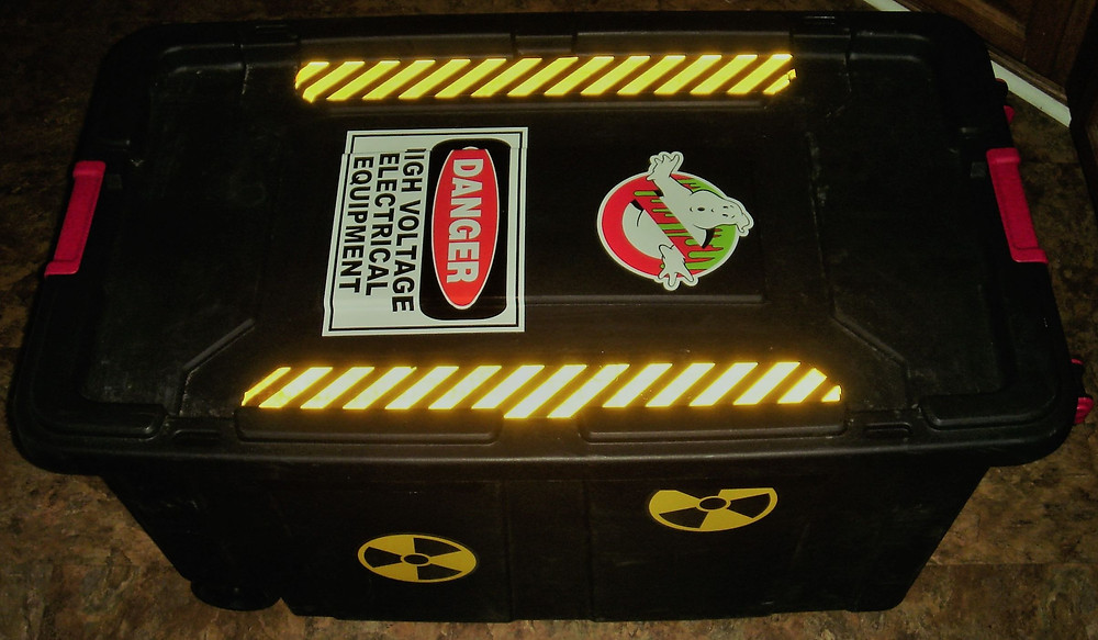 Ghostbusters storage box with radioactive decals.