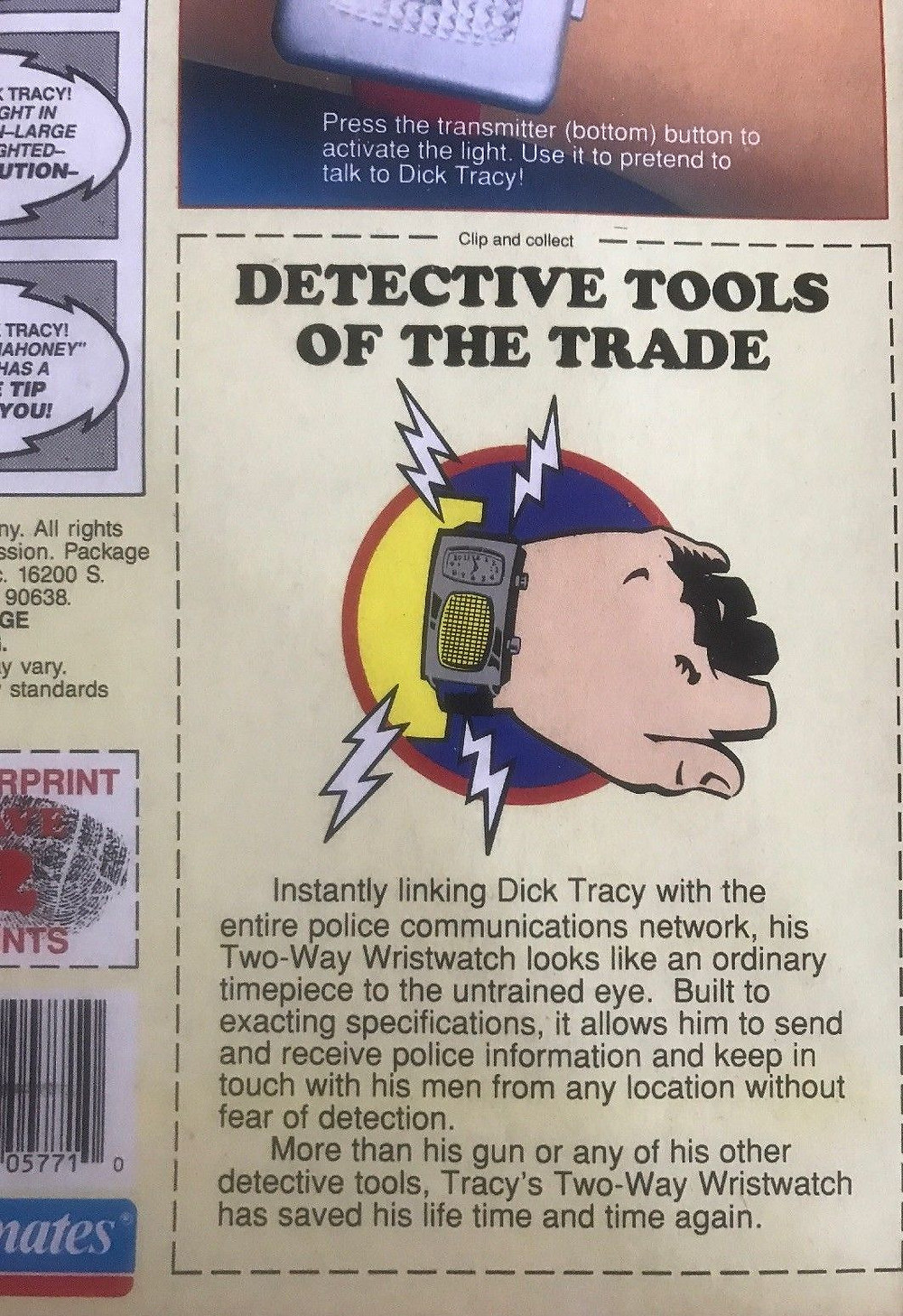 Back of blister pack for Playmates 1990 Dick Tracy 2-Way Wristwatch