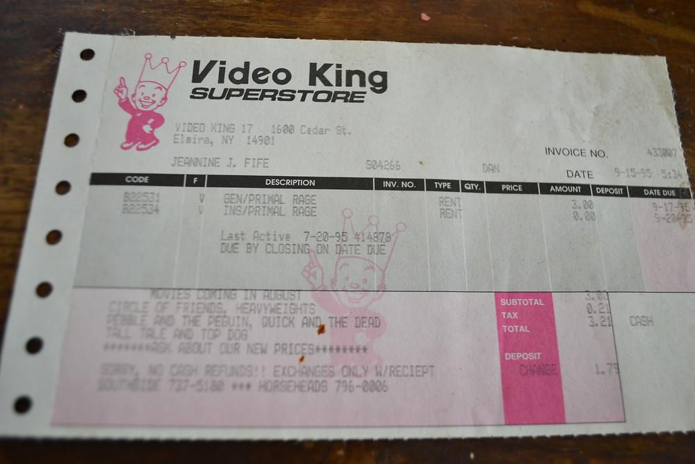 Video King video store receipt for Sega Genesis Primal Rage Atari