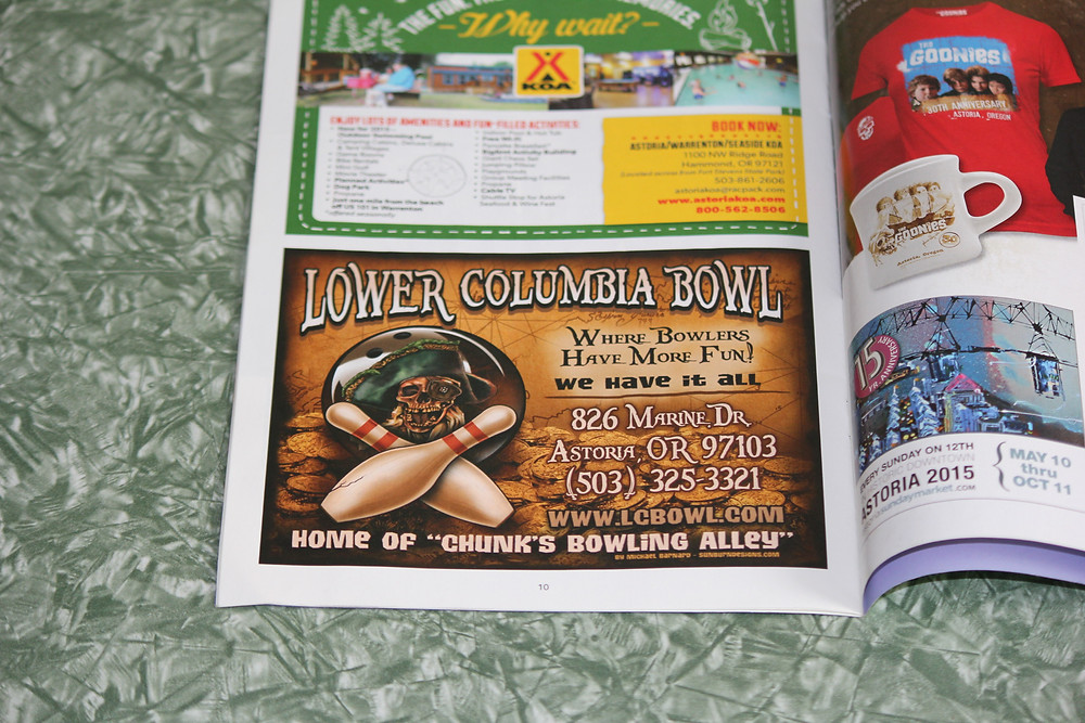 Goonies booklet ad for Lower Columbia Bowl in Astoria, Oregon.