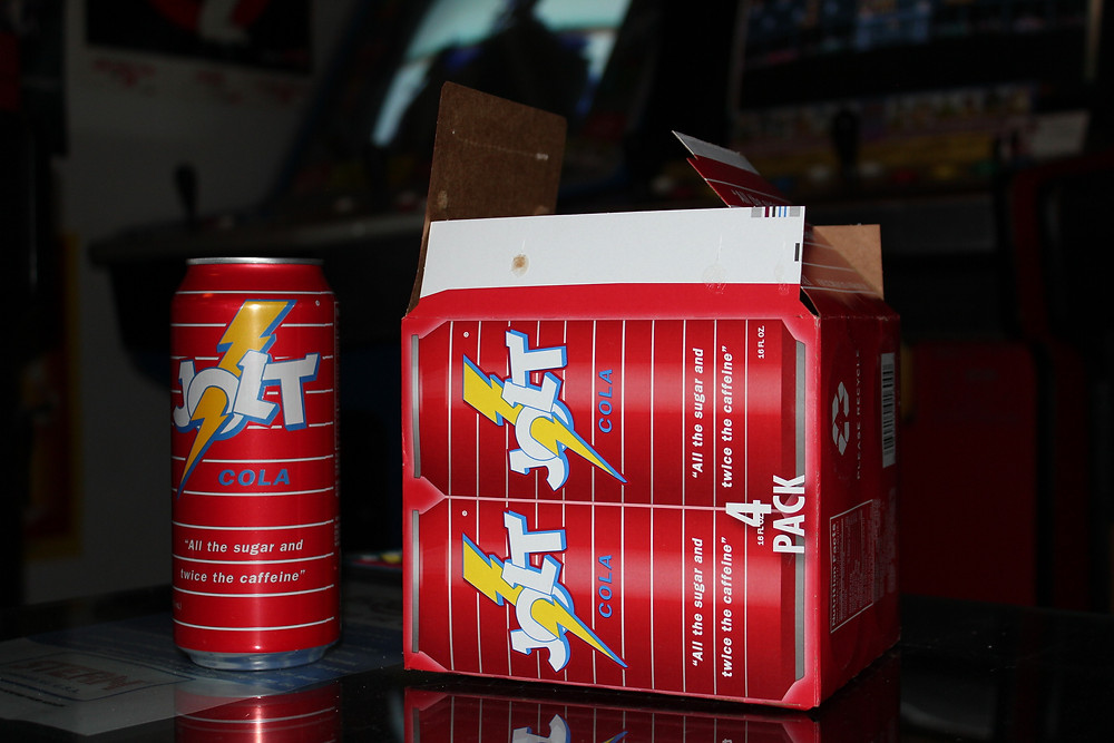 Box and can of Jolt Cola