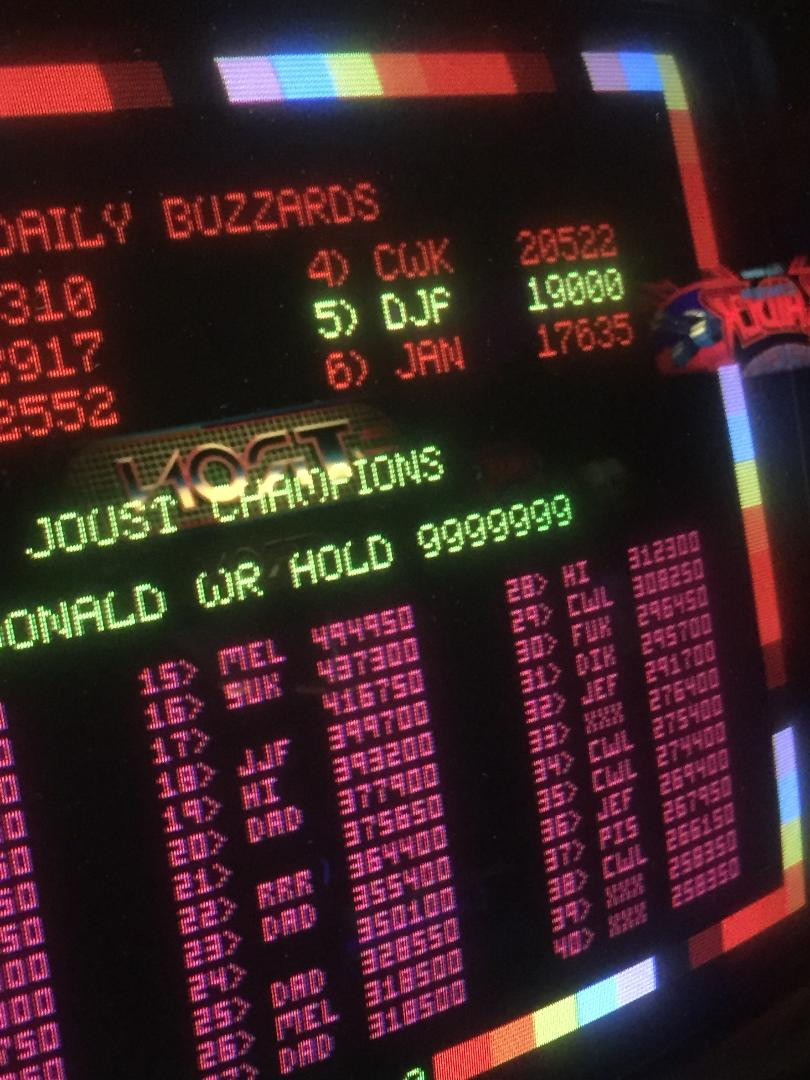 Williams Joust high score screen Lonnie McDonald.