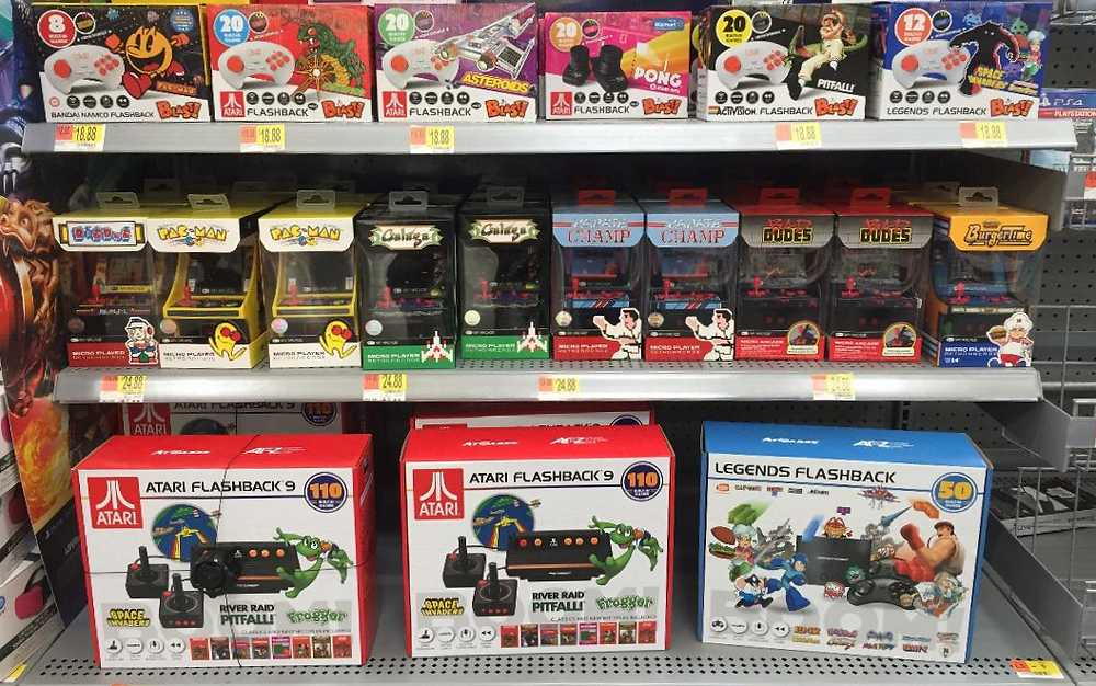Atari Flashback 9, Flashback Legends, Flashback Blast!, My Arcade games at Wal-Mart