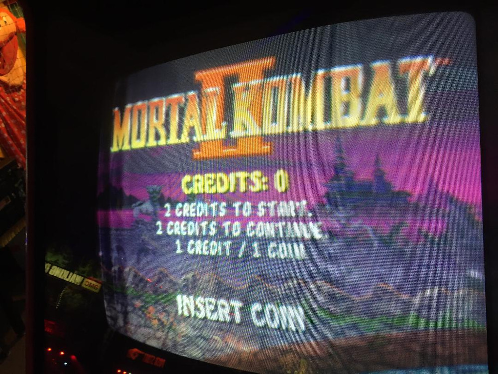 Mortal Kombat II arcade game at Moonwalker Arcade in Vestal, NY.