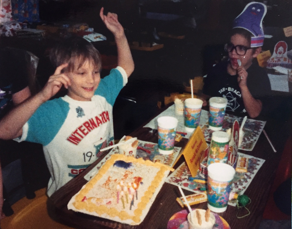 '80s McDonald's birthday party with Ronald and Grimace birthday cake.