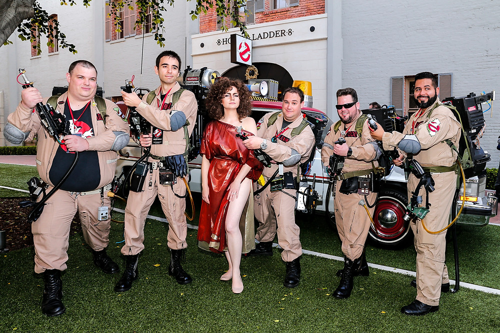 Ghostbusters cosplay with Ecto-1 on Sony lot.