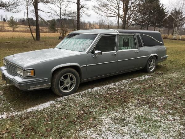 1987 Cadillac Fleetwood hearse.