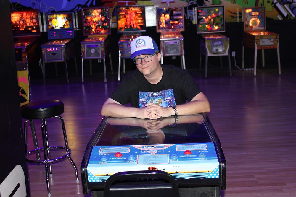 Retroinjection.com blogger Dave Fife at The Game Preserve NASA arcade