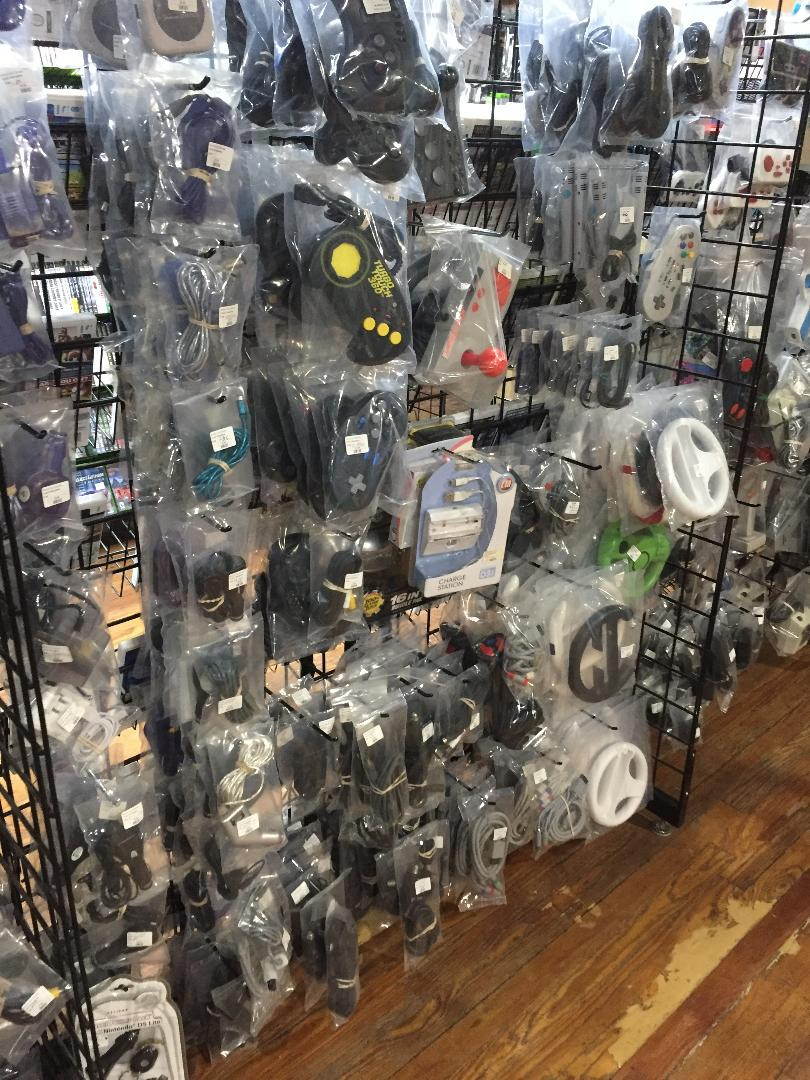 Video game controllers at Robot City Games, Binghamton, NY