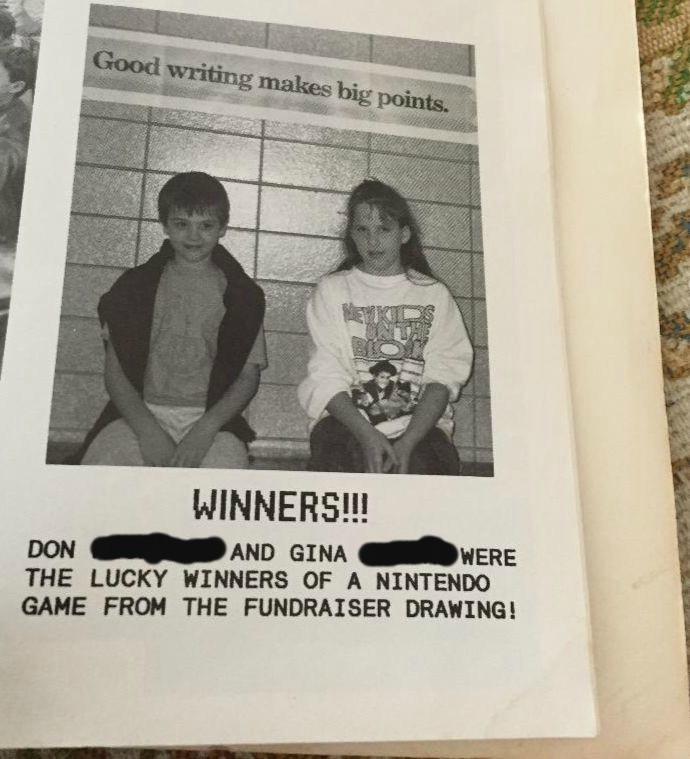 1989 yearbook photo. A girl wears a New Kids on the Block sweatshirt.