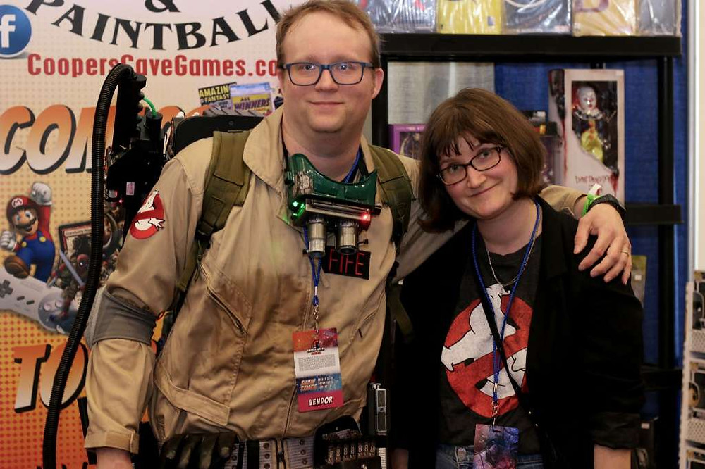 David Fife, of the80sneverdied.com, cosplays as a Ghostbuster at Empire State Comic Con.