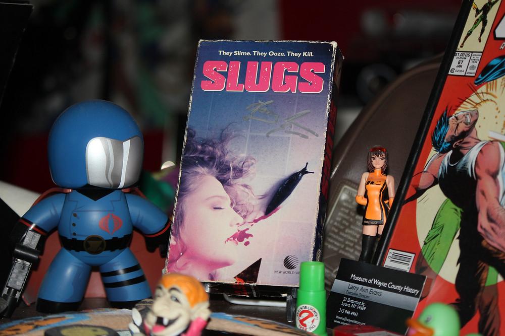 Slugs: The Movie VHS tape autographed by production supervisor Larry Ann Evans.