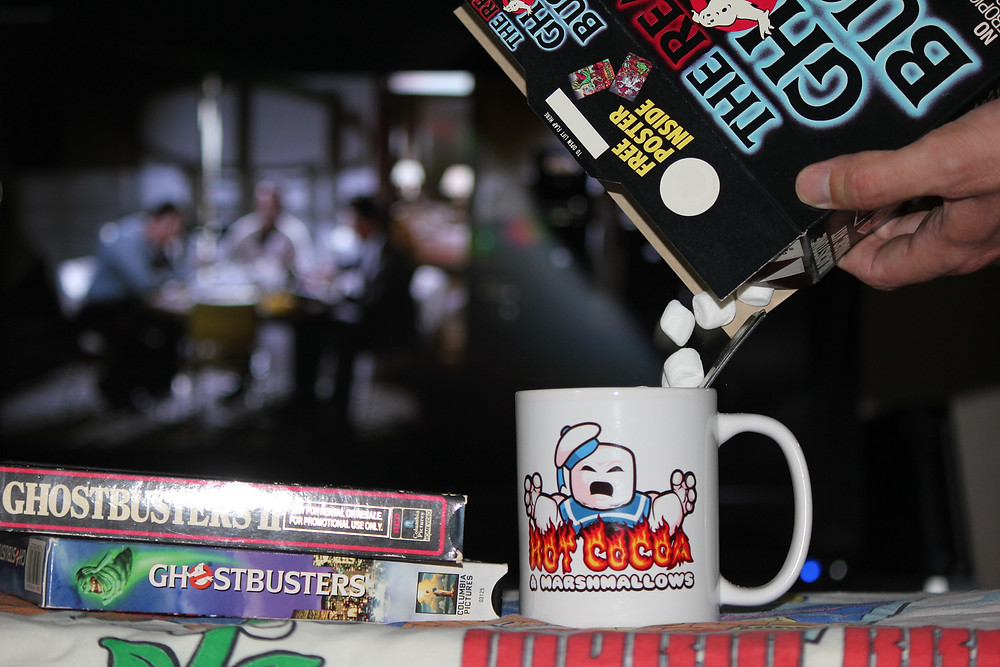 Nerdmug.com Stay-Puft Marshmallow Man mug with Real Ghostbusters cereal.