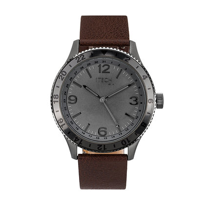 iTECH Duo Analog Smartwatch: Brown Strap with Grey Case
