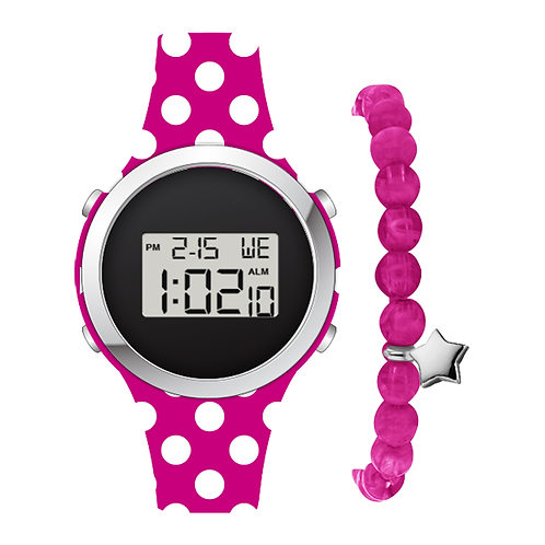 SILVER/FUCHSIA POLKA DOT DIGITAL WATCH & BRACELET