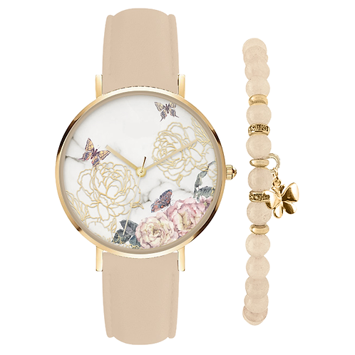 GOLD/BEIGE FLORAL WATCH & BRACELET