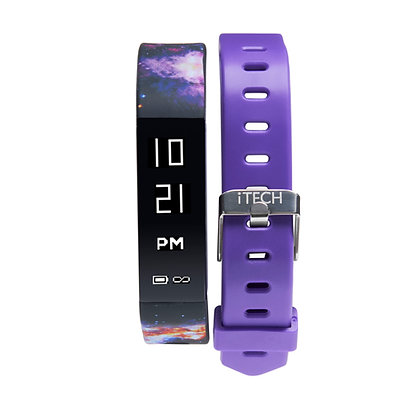 iTECH SPORT Fitness Tracker: Galaxy Strap with Free Purple Strap