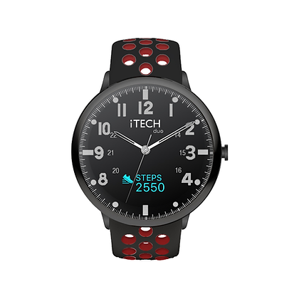 iTECH Duo Analog Smartwatch: Black/Red Strap with Black Case