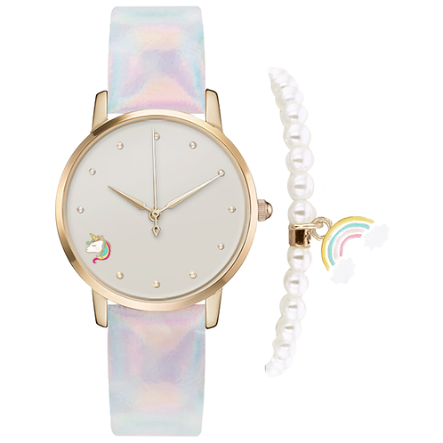 GOLD/IRIDESCENT UNICORN WATCH & BRACELET