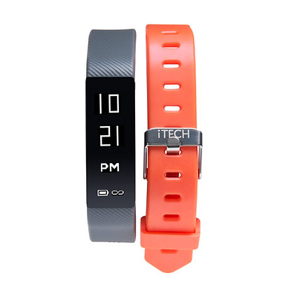 iTECH SPORT Fitness Tracker: Grey Strap with Free Orange Strap