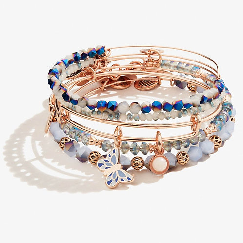 Flying Butterfly Duo Charm Bangle Set of 5 Shiny Rose Gold