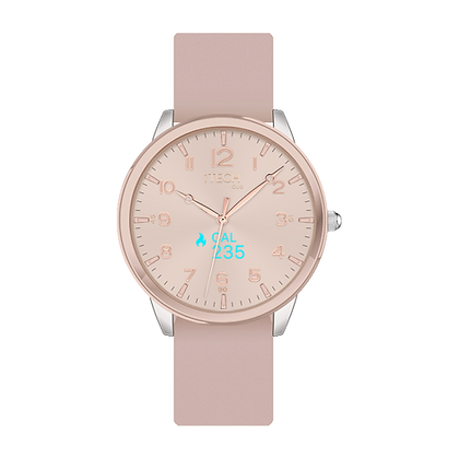 iTECH Duo Analog Smartwatch: Blush Strap with Rose Gold Case
