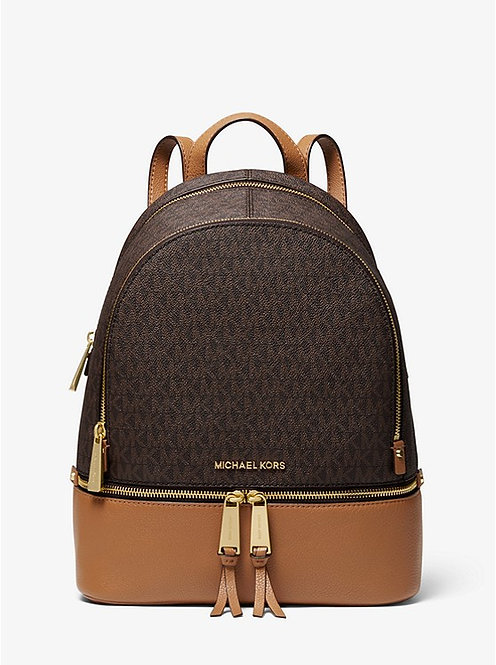 Rhea Medium Logo and Pebbled Leather Backpack