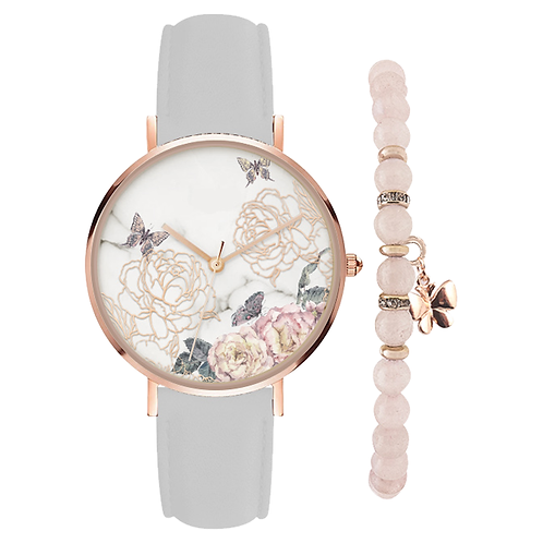 ROSE GOLD/GREY FLORAL WATCH & BRACELET