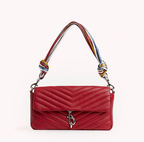 Red Edie Baguette Bag with Cording Strap