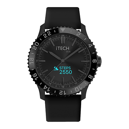 iTECH Duo Analog Smartwatch: Black Strap with Black Case