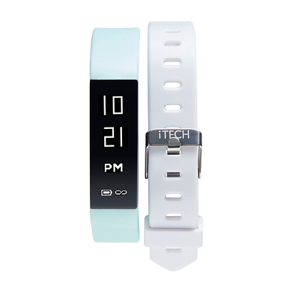iTECH SPORT Fitness Tracker: Mint Strap with Free White Strap