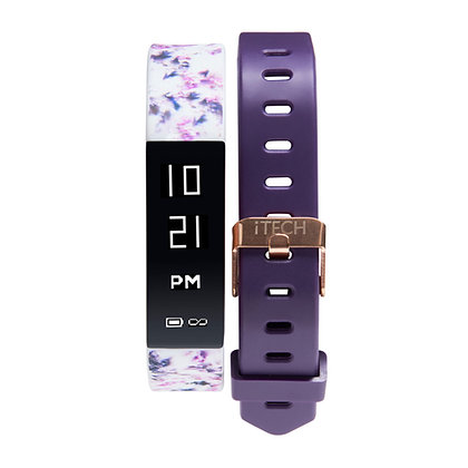 iTECH SPORT Fitness Tracker: White Print Strap with Free Purple Strap