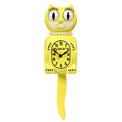 Majestic Yellow Lady Kit-Cat Klock (15.5″ high)