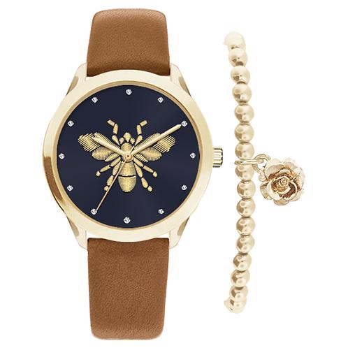 GOLD/NAVY BEE WATCH & BRACELET