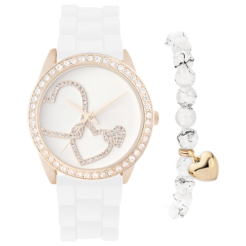 GOLD/WHITE HEARTS WATCH & BRACELET