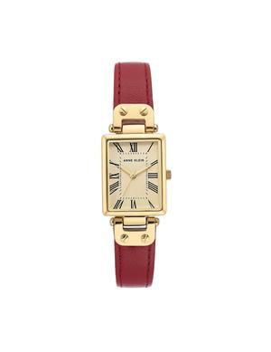 Rectangular Case Leather Strap Watch
