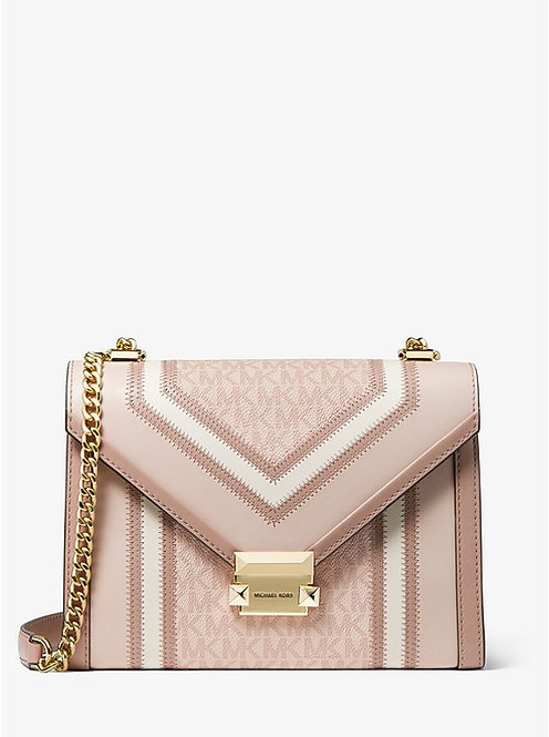 Whitney Large Logo and Leather Convertible Shoulder Bag