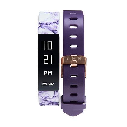 iTECH SPORT Fitness Tracker: Purple Print Strap with Free Purple Strap