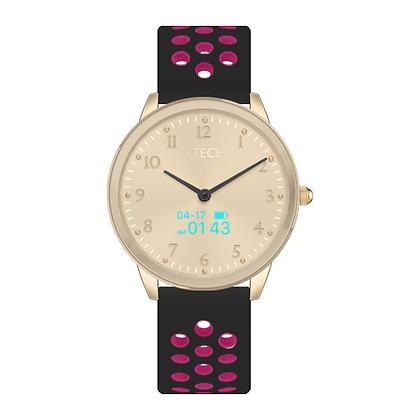 iTECH Duo Analog Smartwatch: Black/Fuschia strap with Gold Case