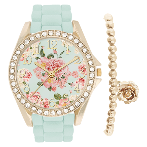 GOLD/MINT FLORAL WATCH & BRACELET