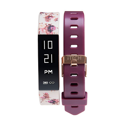 iTECH SPORT Fitness Tracker: Pink Flower Strap with Free Merlot Strap