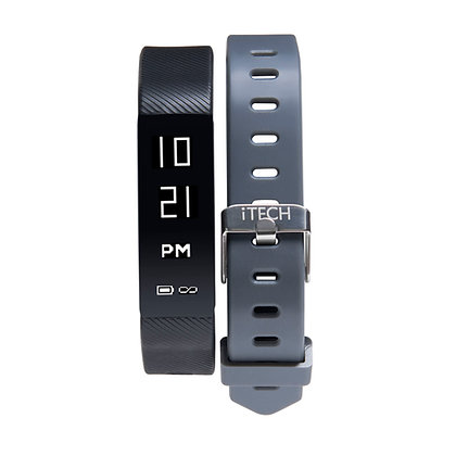 iTECH SPORT Fitness Tracker: Black Strap with Free Grey Strap