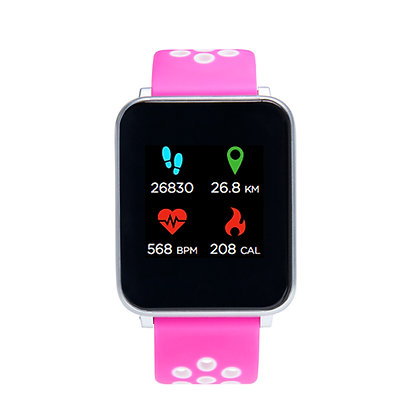 iTECH Fusion: Pink/White Strap with Silver Case