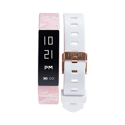 iTECH SPORT Fitness Tracker: Pink Camo Strap with Free White Strap