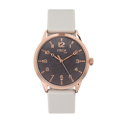 iTECH Duo Analog Smartwatch: Grey Strap with Rose Gold Case